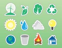 De Stickers van het Pictogram van het milieu Stock Fotografie