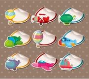 De Stickers van het vliegtuig van het beeldverhaal, Etiket Stock Afbeelding