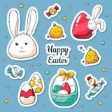 De stickers van de lentepasen die in beeldverhaalstijl worden geplaatst Vectorillustratie in krabbelstijl Inzameling van gelukkig royalty-vrije illustratie