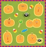 De Stickers van pompoengezichten vector illustratie