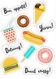 De stickers van snel Voedselvecor Royalty-vrije Stock Foto's