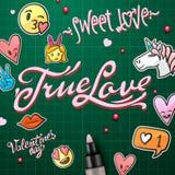 De stickers van de valentijnskaartendag, Liefdeemoji, pictogrammen, emoticons, vectorillustratie Royalty-vrije Stock Afbeeldingen