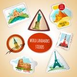 De Stickers van wereldoriëntatiepunten Stock Afbeelding