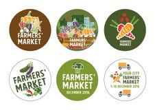 De stickersconcept van de landbouwersmarkt Stock Fotografie