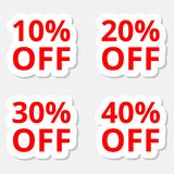 De stickerspictogrammen van de verkoopkorting De tekens van de speciale aanbiedingprijs 10, 20, 30 en 40 percenten van verminderi Royalty-vrije Stock Afbeelding