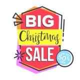 De Stickervector van de Kerstmisverkoop Het winkelen concept goedkoop teken Kortingsmarkering, Speciale aanbiedingbanner Geïsolee vector illustratie