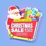 De Stickervector van de Kerstmisverkoop De Kerstman _2 Het winkelen concept Black Friday-Vakantie Goedkoop Teken Speciale korting stock illustratie