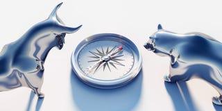 De stier en draagt met kompas stock illustratie