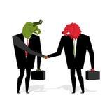 De stier en draagt Overeenkomst De dierenzakenlieden maken handel De mensen schudden Ha Royalty-vrije Stock Afbeelding