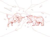 De stier en draagt symbolen op effectenbeurs vectorillustratie Vecto vector illustratie