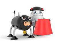 De stierenrobot of kan koe zijn Leuk karakter royalty-vrije illustratie