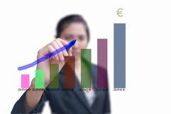 De stijgende grafiek van de bedrijfsvrouwentekening Stock Foto