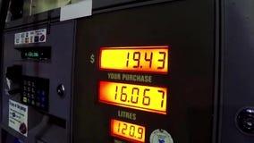 De stijgende kost om gas te pompen stock footage