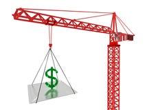 De stijging van de dollar omhoog. 3D geef terug Stock Foto's