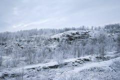 De stijging van de snow-covered heuvel Royalty-vrije Stock Fotografie