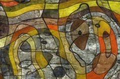 De stijl abstract artistiek art. van het illustratiebeeldverhaal Royalty-vrije Stock Foto's