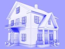 De stijl 3D teruggegeven huis van de blauwdruk Blauwe overzichten op blauwe backgr Royalty-vrije Stock Afbeeldingen