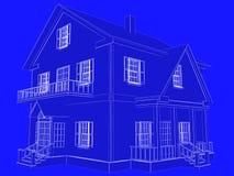 De stijl 3D teruggegeven huis van de blauwdruk Witte overzichten op blauwe backgr Stock Afbeeldingen
