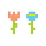 De stijl eenvoudige bloemen geïsoleerde vectorillustratie van de pixelkunst Stock Afbeelding