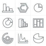 De Stijl Eenvoudige reeks van lijnpictogrammen Stock Fotografie