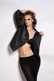 De Stijl Modelgirl portrait van de maniertuimelschakelaar stock fotografie