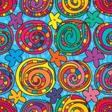 De stijl naadloos patroon van de wervelingscirkel stock illustratie