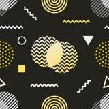De stijl naadloos patroon van Memphis De zwarte witte gele jaren '80 als achtergrond, ontwerp van de jaren '90 retro manier Abstr Stock Afbeeldingen