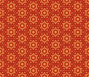 De stijl rood oranjegeel hexagonaal naadloos patroon van het Midden-Oosten Stock Illustratie