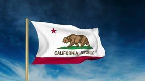 De stijl van de de vlagschuif van Californië Het golven in de winst stock footage