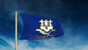 De stijl van de de vlagschuif van Connecticut met titel waving stock video