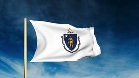 De stijl van de de vlagschuif van Massachusetts Het golven in de winst stock video
