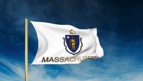De stijl van de de vlagschuif van Massachusetts met titel waving stock video