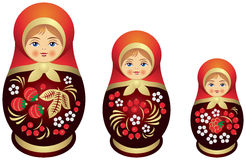 De stijl van de familiekhokhloma van de Matryoshkapop Royalty-vrije Stock Foto
