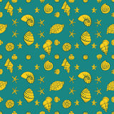 De stijl van de overzees shell patroontekening Stock Fotografie