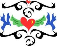 De Stijl van de tatoegering met Harten en Vogels Stock Afbeelding