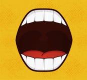 De stijl van het glimlachpop-art op gele achtergrond Stock Foto