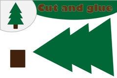 De stijl van het kerstboombeeldverhaal, onderwijsspel voor de ontwikkeling van peuterkinderen, gebruiksschaar en lijm om appliq t vector illustratie