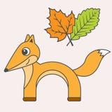De stijl van het vosbeeldverhaal, vectorkunst voor jonge geitjes stock illustratie