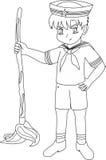 De stijl van het zeemansjonge geitje anime Stock Afbeelding