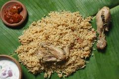 De Stijl van Kerala Biryani - Biriyani met Fried Chicken /Mutton wordt gemaakt dat stock foto's