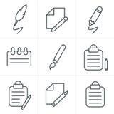 De Stijl van lijnpictogrammen het Schrijven pictogrammen Stock Foto