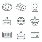 De Stijl van lijnpictogrammen het Winkelen Royalty-vrije Stock Afbeeldingen