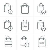 De Stijl van lijnpictogrammen het Winkelen zakpictogrammen Royalty-vrije Stock Fotografie