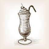 De stijl vectorillustratie van de milkshakeschets Stock Fotografie