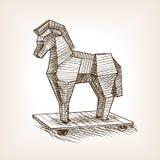 De stijl vectorillustratie van de paard van Trojeschets Royalty-vrije Stock Foto's