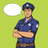 De stijl vectorillustratie van het politieagentpop-art Stock Foto's