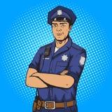 De stijl vectorillustratie van het politieagentpop-art Royalty-vrije Stock Fotografie