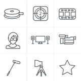 De Stijl vectorzwarte van lijnpictogrammen Stock Foto's