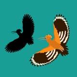 De stijl vlak silhouet van de vogel hoopoe vectorillustratie Royalty-vrije Stock Afbeeldingen