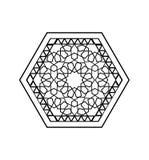 De stijl zwart wit hexagonaal patroon van het Midden-Oosten Royalty-vrije Illustratie